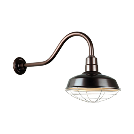 """14"""" Quick Ship classic warehouse shade in oil rub bronze finish and QSNHL-A arm and 96 galvanized wi"""