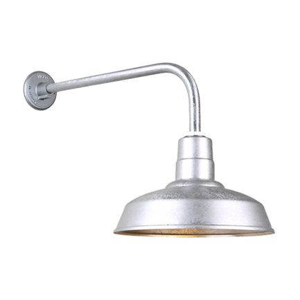 """14"""" Quick Ship Classic warehouse shade in 96 galvanized  finish and QSNB-13 arm"""