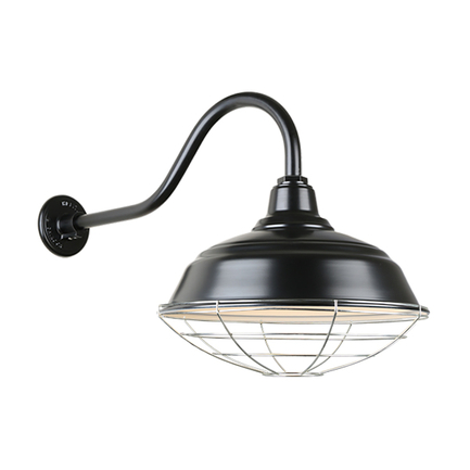 """17"""" quick ship curved warehouse shade in 91 black finish and QSNHL_A gooseneck arm and galvanized wi"""