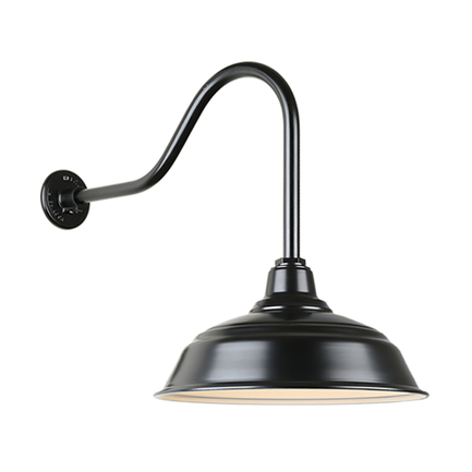 """17"""" quick ship curved warehouse shade in 91 black finish and QSNHL-H arm"""