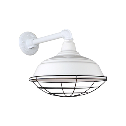 """17"""" quick ship curved warehouse shade in white finish and QSNB-44 arm with black wire guard"""