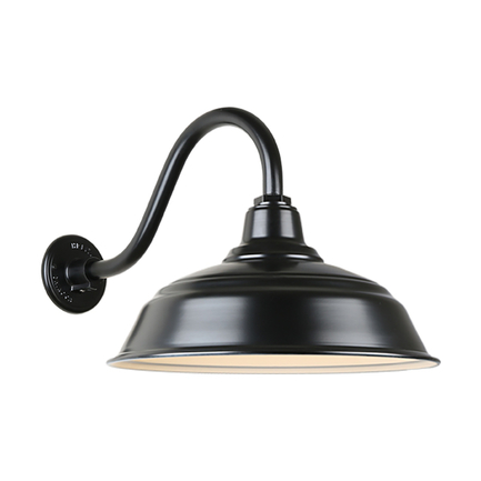 """17"""" quick ship curved warehouse shade in 91 black finish and QSNB-42 arm"""