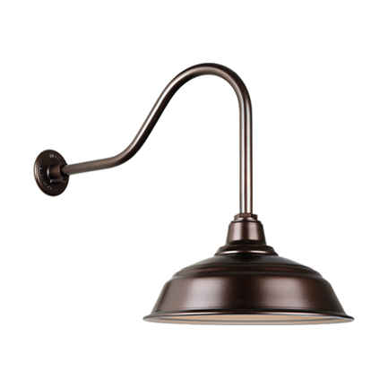 """17"""" curved warehouse shade in 145 oil rub bronze finish and QSNHL-H arm"""