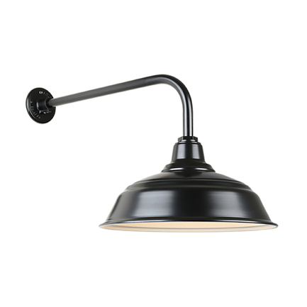 """17"""" quick ship curved warehouse shade in 91 black finish and QSNB-13 arm"""