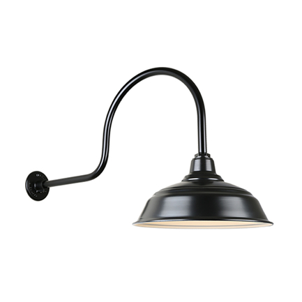 """17"""" quick ship curved warehouse shade in 91 black finish and QSNHL-C arm"""