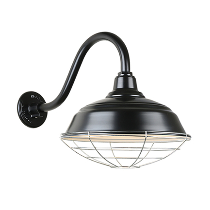 """17"""" quick ship curved warehouse shade in 91 black finish and QSNB-42 gooseneck arm and galvanized wi"""