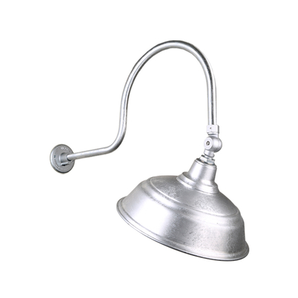 """17"""" quick ship curved warehouse shade in 96 galvanized finish  and QSNHL-C gooseneck arm with swivel"""