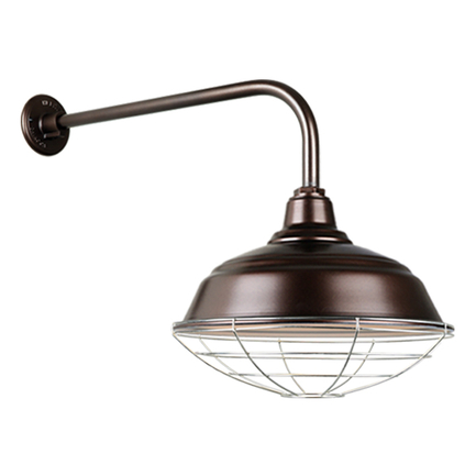 """17"""" quick ship curved warehouse shade in 145 oil rub bronze finish and QSNB-13 arm with galvanized w"""