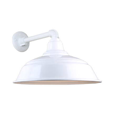 """17"""" quick ship curved warehouse shade in 93 white finish and QSNB-44 arm"""