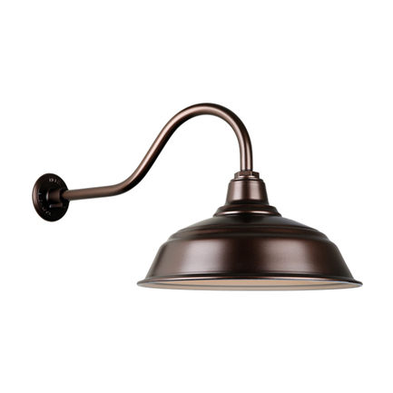 """17"""" quick ship cureved warehouse shade in 145 oil rub bronze finish and QSNHL-A arm"""