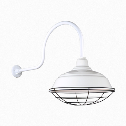 """17"""" quick ship curved warehouse shade in 93 white finish  and QSNHL-C arm with black wire guard"""