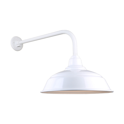"""17"""" quick ship curved warehouse shade in 93 white finish and QSNB-13 arm"""