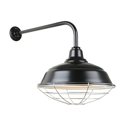 """17"""" quick ship curved warehouse shade in 91 black finish and QSNB-13 gooseneck arm and galvanized wi"""
