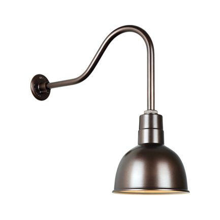"""10""""quick ship deep bowl shade in 145 oil rub bronze finish and QSNHL-H gooseneck arm"""