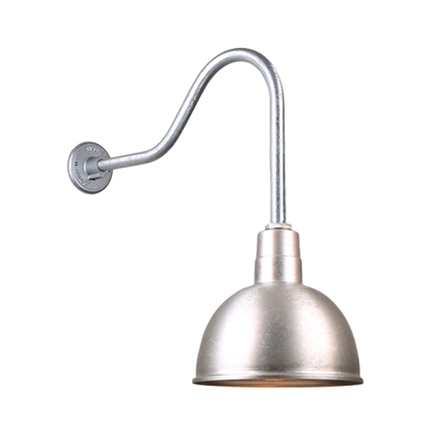 """12"""" quick ship classic deep bowl shade in 96 galvanized  finish and QSNHL-H arm"""