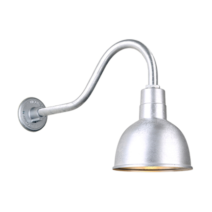 """10"""" quick ship classic deep bowl shade in 96 galvanized finish and QSNHL_A gooseneck arm"""
