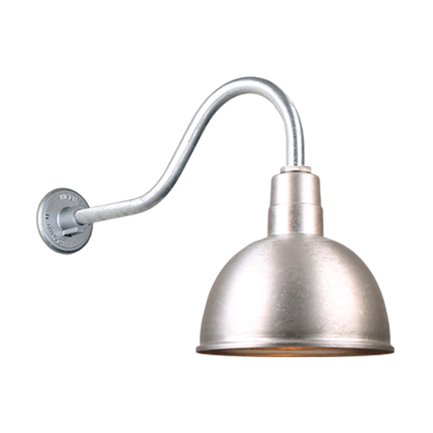 """12"""" quick ship classic deep bowl shade in 96 galvanized finish and QSNHL-A arm"""