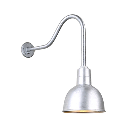 """10"""" quick ship classic deep bowl shade in 96 galvanized finish with QSNHL-H gooseneck arm"""