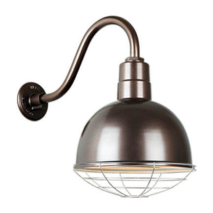 """12"""" quick ship classic deep bowl shade in 145 oil rub bronze finish and QSNB-42 arm and galvanized w"""