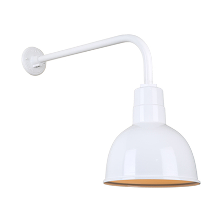 """10"""" quick ship classic deep bowl shade in 93 white finish and QSNB-13 arm"""