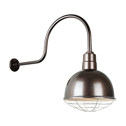 """12"""" quick ship classic deep bowl shade in 145 oil rub bronze finish and QSNHL-C arm and galvanized w"""