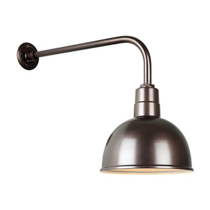 """12""""quick ship classic deep bowl shade in 145 oil rub bronze finish and QSNB-13 gooseneck arm"""