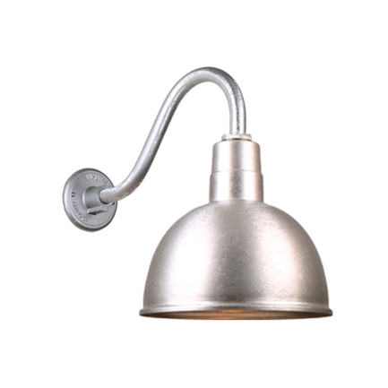 """12"""" quick ship classic deep bowl shade in 96 galvanized finish  and QSNB-42 arm"""