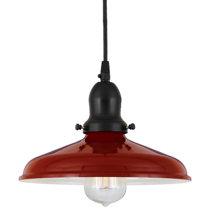 """10"""" shade in 139 cranberry finish , with 91 black cap and cb7 cord mounting"""