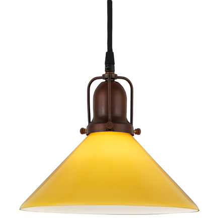 """10"""" yellow glass with 77 rosewood brass finish cap and cb 7 cord mounting"""