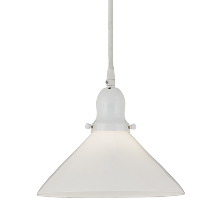 """10"""" opal glass shade with 93 white finish cap and cw 7 cord mounting"""