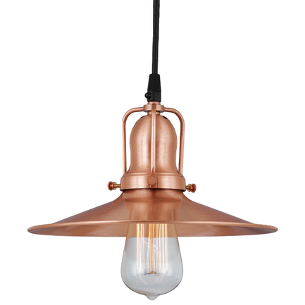 """12""""shade in 24 satin copper finish and 24 satin copper finish cap, cb8 cord mounting"""