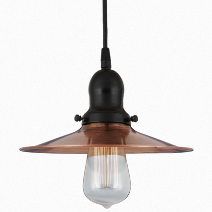 10'shade in 49 weathered copper finish with 91 black finish cap, cb8 cord mounting