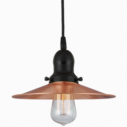 12' shade in 24 satin copper finish with 91 black finish cap, cb8 cord mounting