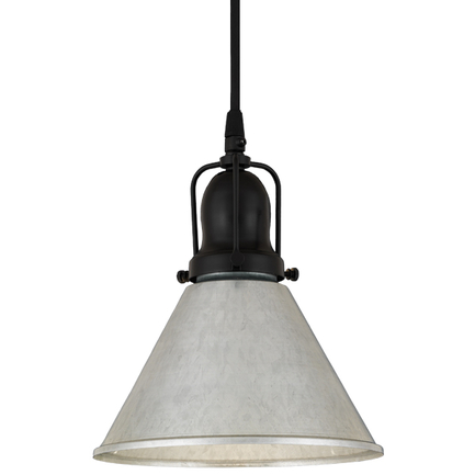 """8"""" shade in 96 galvanized finish, with 91 black cap and cb 7 cord mounting"""