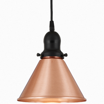 """8"""" shade in 24 satin copper finish, with 91 black cap and cb 7 cord mounting"""