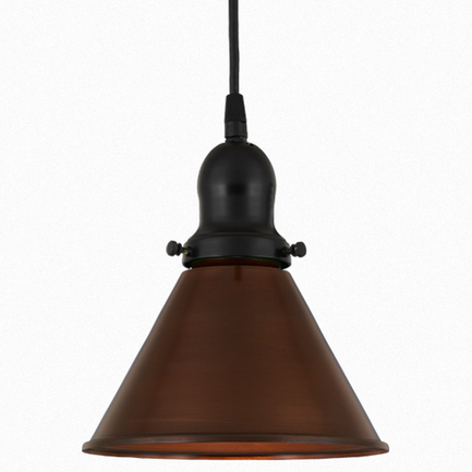 """8"""" shade in 77 rosewood finish, with 91 black cap and cb 7 cord mounting"""