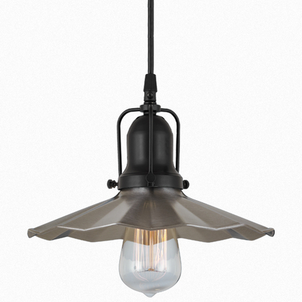 """9"""" shade in 11 satin steel finish, with 91 black cap and cb7 cord mounting"""