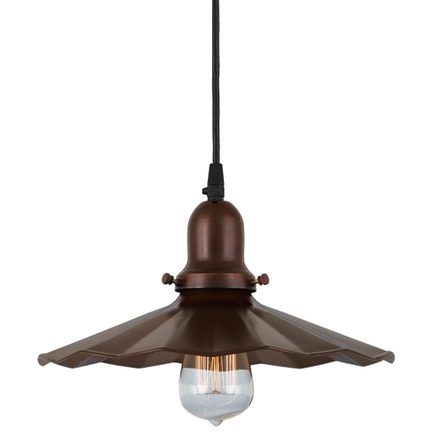 """12"""" shade in 77 rosewood finish, with 77 rosewood finish cap, cb8 cord mounting"""