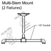 Multi-Stem Mount for 2 Fixtures