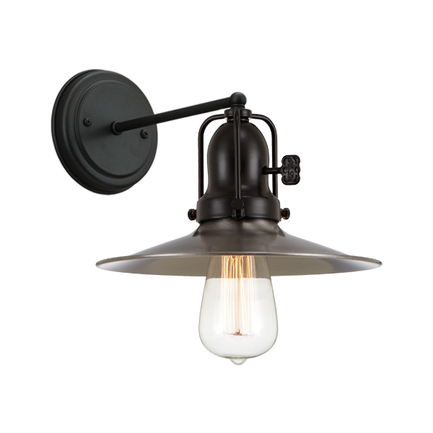 """9"""" shade in 11 satin steel, M-1 arm, canopy, cap and key in 91 black finish"""