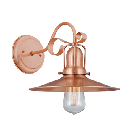 """10"""" shade with M-4 arm, canopy and cap in 48 raw copper"""