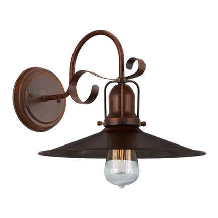 """12"""" shade with M-9 arm, canopy and cap in 77 rosewood"""