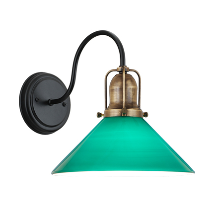 """10"""" green shade with cap in 89 aged brass, M-10 arm and canopy in 91 black"""