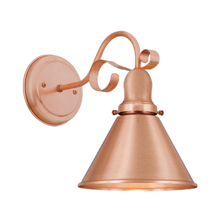 """8"""" shade in with cap, M-4 arm and canopy in 48 raw copper"""