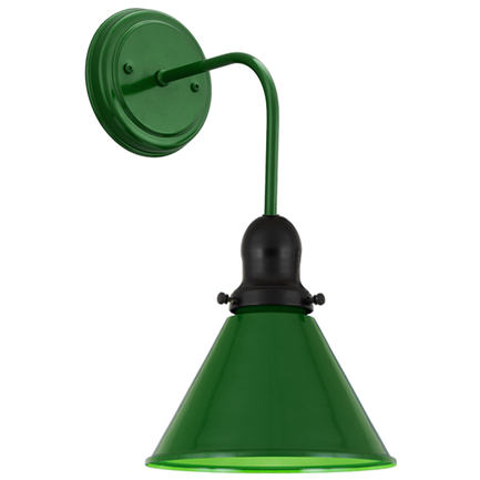 """8"""" shade with M-6 arm and BM-1 canopy in 140 mallard green, cap in 91 black"""